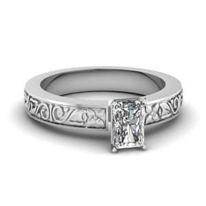 Daisy Carved Solitaire Ring