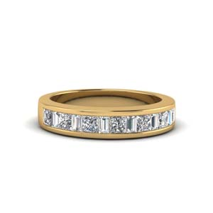 princess diamond and baguette band in 14K yellow gold FDENS350B NL YG