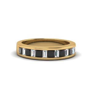 princess and baguette band with black diamond in 18K yellow gold FDENS350BGBLACK NL YG