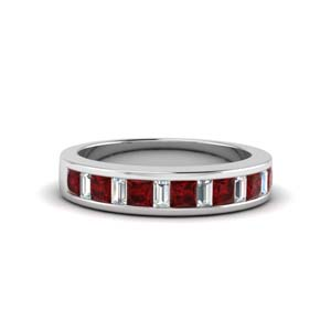 princess diamond and baguette band with ruby in 18K white gold FDENS350BGRUDR NL WG