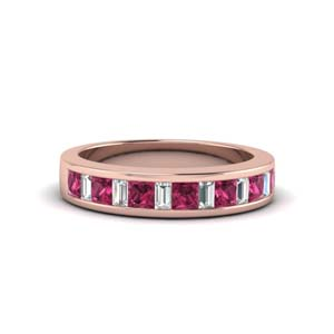princess diamond and baguette band with pink sapphire in 14K rose gold FDENS350BGSADRPI NL RG