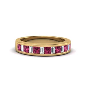 princess diamond and baguette band with pink sapphire in 14K yellow gold FDENS350BGSADRPI NL YG