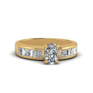 cushion cut thick band diamond and baguette engagement ring in 14K yellow gold FDENS350CUR NL YG