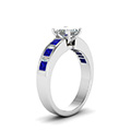 princess cut channel baguette and princess accent diamond engagement ring with blue sapphire in FDENS350PRRGSABLANGLE2 NL WG