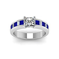 princess cut channel baguette and princess accent diamond engagement ring with blue sapphire in FDENS350PRRGSABLANGLE5 NL WG