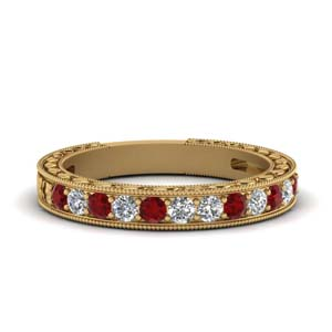 Ruby Nature Inspired Wedding Band