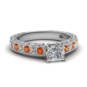 vintage engraved princess cut diamond engagement ring with orange sapphire in FDENS3519PRRGSAOR NL WG