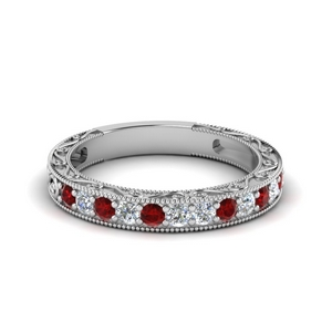 Ruby Vintage Pave Wedding Band