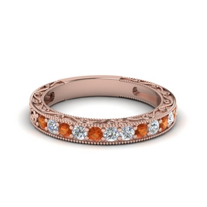 Wedding Band With Orange Sapphire