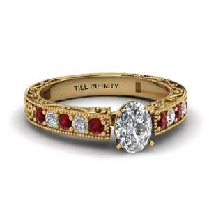 Accent Ruby Ring In 18K Gold