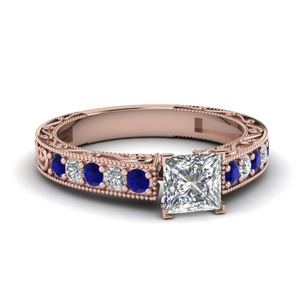 Princess Cut Sapphire Vintage Engagement Rings
