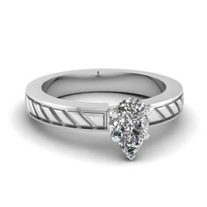 Pear Shape Diamond Solitaire Ring