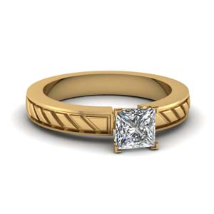 Carved Solitaire Ring