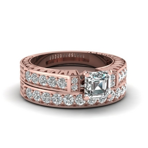 Intricate Engraved Diamond Ring Set