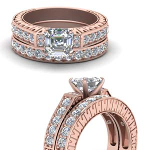 Pave Diamond Bridal Ring Set
