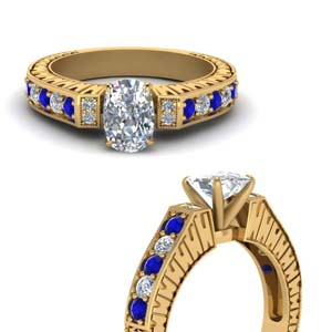 Vintage Pave Cushion Diamond Ring With Sapphire In 14K Yellow Gold