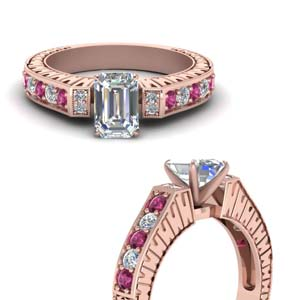 Vintage Pave Emerald Cut Diamond Ring With Pink Sapphire In 18K Rose Gold