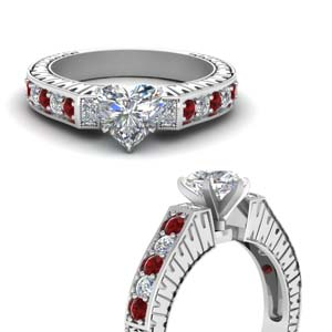 Vintage Pave Heart Diamond Ring With Ruby In 18K White Gold