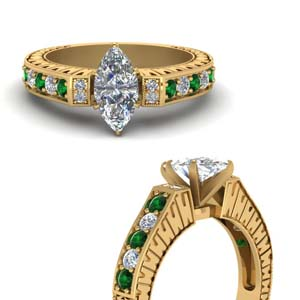 Vintage Pave Marquise Diamond Ring With Emerald In 18K Yellow Gold