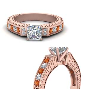 Engraved Pave Orange Sapphire Ring