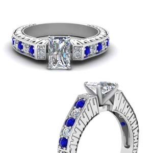 Vintage Pave Radiant Diamond Ring With Sapphire In 14K White Gold