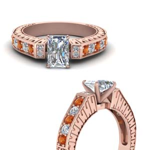 engraved vintage diamond engagement ring with orange sapphire in FDENS352RARGSAORANGLE3 NL RG