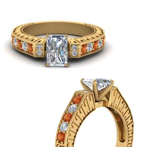 engraved vintage diamond engagement ring with orange sapphire in FDENS352RARGSAORANGLE3 NL YG