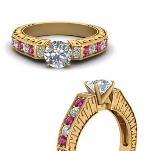 Vintage Pave Round Diamond Ring With Pink Sapphire In 14K Yellow Gold