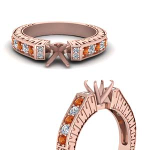 Vintage Pave Princess Cut Diamond Ring With Orange Sapphire In 18K Rose Gold