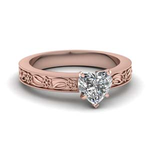 Engraved Floral Solitaire Ring