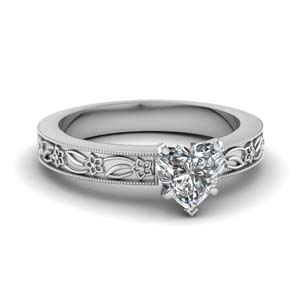 Heart Diamond Milgrain Ring