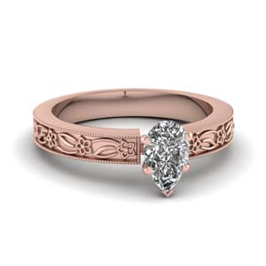 Pear Diamond Floral Ring