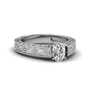 Flower Solitaire Engagement Ring
