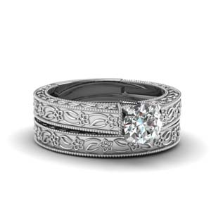 Round Single Diamond Ring Set