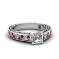asscher cut antique filigree diamond ring with ruby in FDENS3543ASRGRUDR NL WG