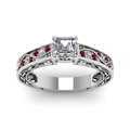 asscher cut antique filigree diamond ring with ruby in FDENS3543ASRGRUDRANGLE5 NL WG