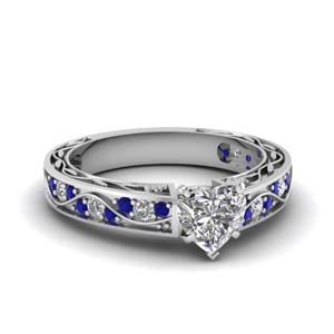 1 ct. diamond vintage looking heart shaped engagement ring with sapphire in FDENS3543HTRGSABL NL WG