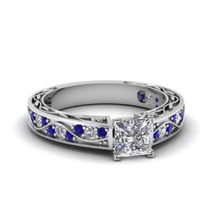 antique filigree princess cut diamond engagement ring with sapphire in FDENS3543PRRGSABL NL WG