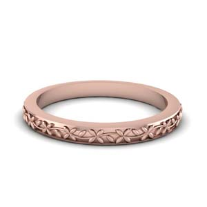 14K Rose Gold Flower Wedding Band
