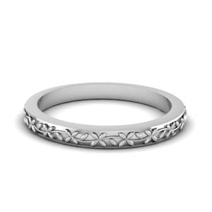 18K White Gold Flower Chain Band