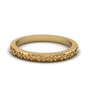 Floral Carved Wedding Band