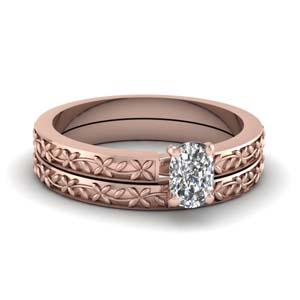 Rose Gold Carved Wedding Set