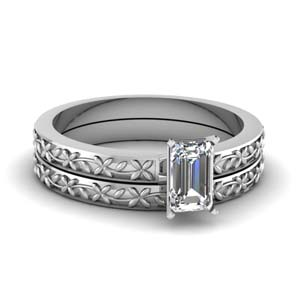 Platinum Emerald Cut Bridal Set