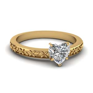 Floral Engraved Heart Diamond Ring