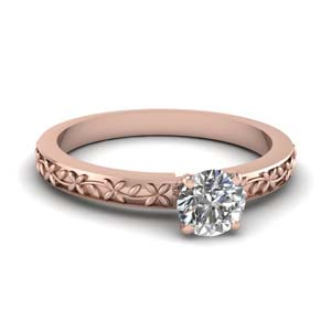 Round Diamond Engraved Ring