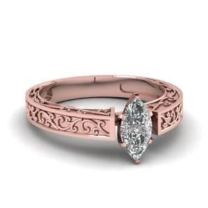 Marquise Diamond Engraved Ring