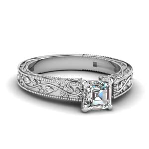 Floral Engraved Asscher Ring