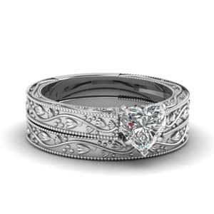 Floral Heart Diamond Wedding Sets