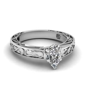 Carved Filigree Solitaire Ring