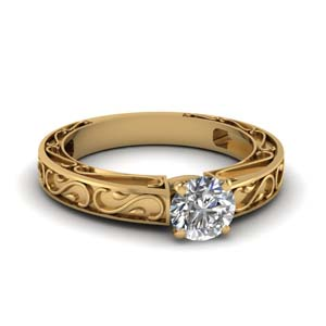 Filigree Engraved Diamond Ring